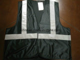 Safety Vest Bright Black 100%Polyester Knitting Fabric