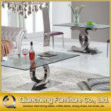 Most Popular Design Glass Top Stainless Steel Dining Table