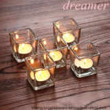 Free Sample Christmas Celebrate Square Cube Glass Candle Holders for Home Decoration