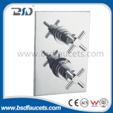 Brass Chinese Twin Chromed Cross Handles Concealed Thermostatic Shower Valve