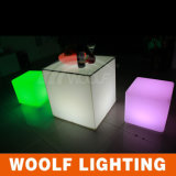 Battery 3D LED Plastic Cube Transparent Colored