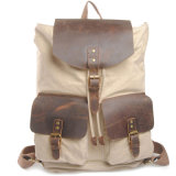 Leisure Outdoor Canvas Leather Laptop Backpack (RS6819)