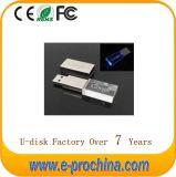 Wholesale Hot Sale Metal USB Flash Disk LED Crystal Flash Drive for Free Sample