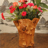 Exquisite Flower Barrel Home Decoration Crafts Carved Wooden Baskets