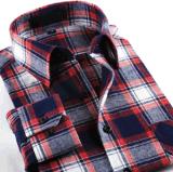 Men′s Fashion Brand Checked Flannel Dress Shirt