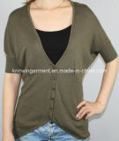 Women Knitted V Neck Fashion Clothes with Buttons (11SS-117)