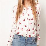 Sexy Red Lip Kiss Print Long Sleeve Shirt Blouse (14211)