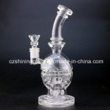 Clear Fab Egg Skull Spiral Smoking Glass Water Pipe with 2 Functions