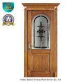 Classic European Solid Wood Door with Glass (ds-8022)