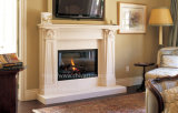 Ivory Beige Stone Fireplace Carved Marble Fireplace Mantel