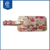 Full Color Flower Printing Leather Luggage Tag with Custom Logo