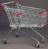 Metal Wire Supermarket Shopping Rolling Wheeled Trolley