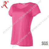 Hot Sale Women′s V-Neck T-Shirt with High Quality (QF-2164)