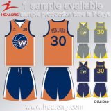 Healong Cool Design Clothing Gear Sublimation 100% Polyester Men′s Basketball Jerseys