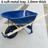 America 6cuft Metal Tray Wheelbarrow with Wooden Handles