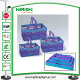 Colorful Foldable Plastic Shopping Basket with Handle