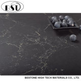 Grey Color Modern Design Quartz Stone Slab with Golden Veins