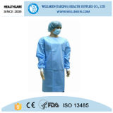 Disposbale Blue SMS Surgical Gown Protect Medical Long Sleeve Gown