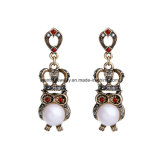 Alloy Diamond-Studded Female Earrings Crown Shape Fashion Jewelry