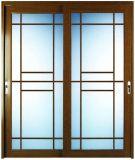 Wood Grain Color Film Coated Thermal Break Aluminum Sliding Door with Grill Design