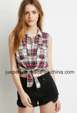 Sleeveless Self-Tie Women Cotton Plaid Shirt