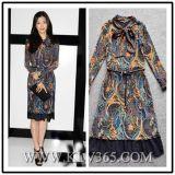 Long Sleeve Fashion Print Silk Dress for Ladies