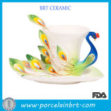 Kingly Peacock Ceramic Coffee Cup Set with Salver