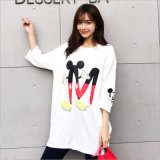 Korean Cartoon Graphic All-Match Relax Cutey Floral Students Long T-Shirt