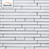 Wholesale High Quality Indoor Decorative White Strip Glossy Glass Mosaic Tile