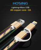 2 in 1 Braided Nylon USB Charger Data Cable for Android and iPhone