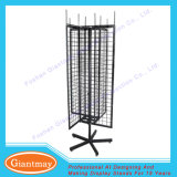 Floor Standing Metal 4 Sided Metal Floor Spinner Wire Rack with Hooks