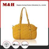 PU Women Shoulder Bags Brown Bag Handles Metal Frame
