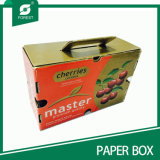 Glossy Varnish Paper Cherry Carton with Handle