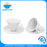 Unique 160ml White Porcelain Coffee Cup with Saucer