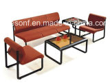 Office Used Metal Frame Leisure Fabric Leather Sofa (NS-D062)