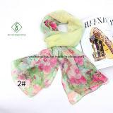 New Design Lady Fashion Silk Scarf with Sakura Printed Shawl