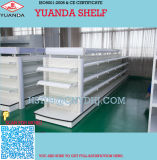 Metal Double Sided Cosmetic Display Shelf with Glass Shleves
