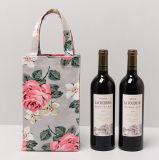 2 Bottles Wine Bag, Cotton Canvas Water Bottle Pocket with Beautiful Custom Logo