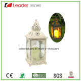 Metal White LED Lantern with Candle for Home Decoration and Garden Ornaments
