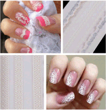 3D White Lace Decal Design Nail Art Stickers Nail Sticker