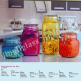 Colored Glass Jar Many Sizes with Clip Cap