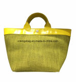 Jute Combined with Shiny PU Small Lady Tote Shopper Bag