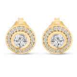 Gold Plating 925 Sterling Silver Stud Earrings with CZ