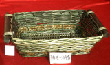 Rectangular Wicker Basket with Wooden Handles (FM05-058)