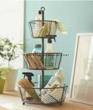 5 Tier Metal Display Rack with Spinning Baskets