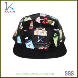 Custom Floral Leather 5 Panel Hat with Woven Label Patch