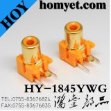 2pin RCA Jack with Gold Plating in Orange (HY-1845YWG)
