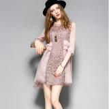 Fashion Floral Pink Women Dress with Falbala for Winter′s Clothes
