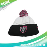 Unisex Cuffed Embroidery Winter Knitted Hats Beanies with Pompom (097)