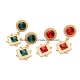 European and American Fashion Geometric Retro Luxury Sparkling Inlaid Crystal Earrings 2 Colors
